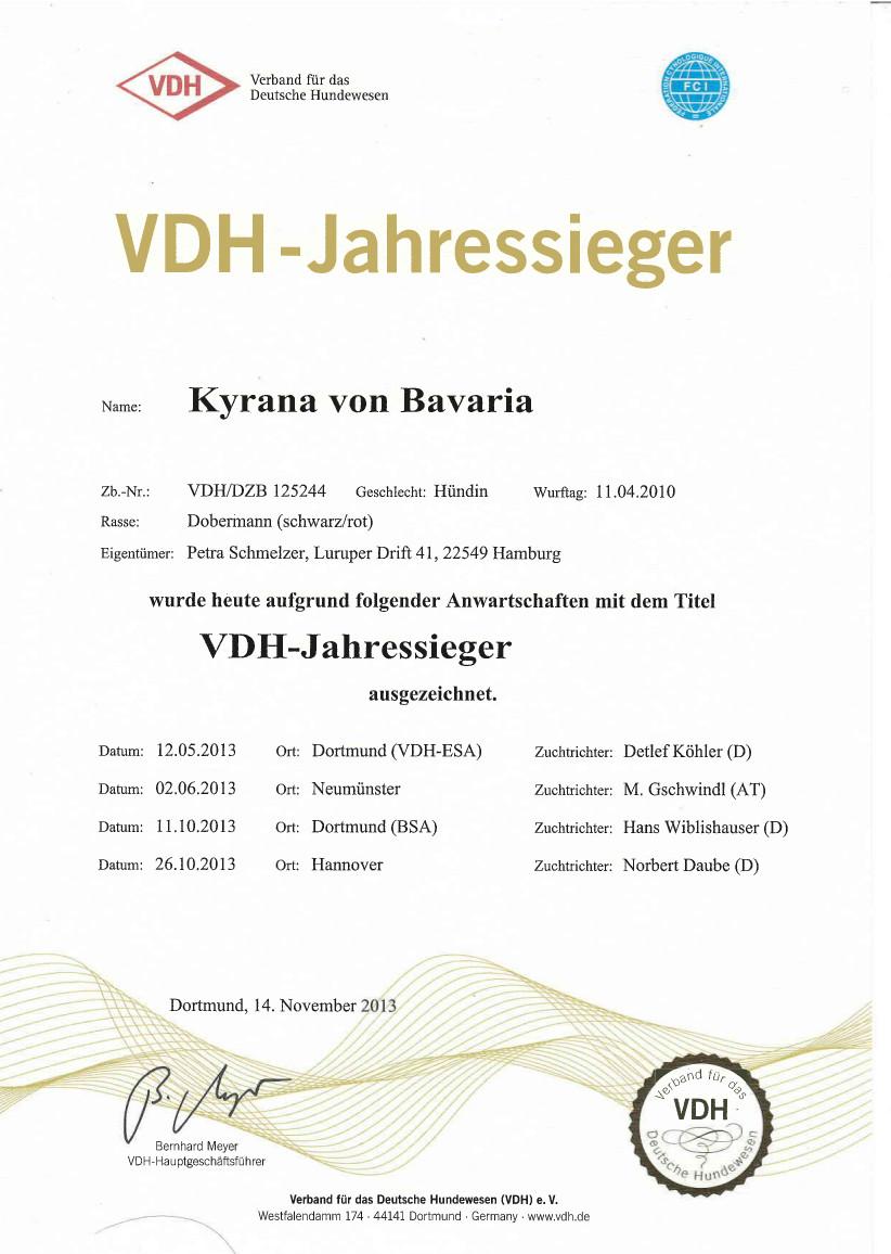 VDH-Jahressieger 2013 - Kyrana von Bavaria